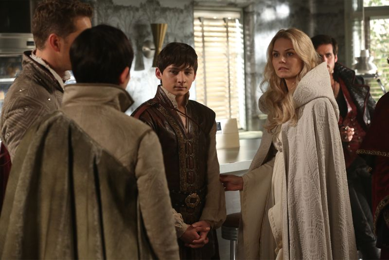 "ONCE UPON A TIME - ""Dreamcatcher"" - In Camelot, as Mary Margaret and David attempt to retrieve the Dark One dagger, Emma uses a dreamcatcher to look into the past to see how Merlin was transformed into a tree. Together, Emma and Regina figure out the critical ingredient they must acquire to free Merlin, but it's a race against Arthur, who does not want Merlin released. Meanwhile, with encouragement from his moms, Henry musters up the courage to ask Violet on a date. Back in Storybrooke, the heroes break into Emma's house hoping to locate Gold, but what they find will give them a glimpse of Emma's end game. Far from prying eyes, Merida sets about the mission Emma has tasked her with and begins molding Gold into the hero they need to draw Excalibur, on ""Once Upon a Time,"" SUNDAY, OCTOBER 25 (8:00-9:00 p.m., ET) on the ABC Television Network. (ABC/Jack Rowand) JOSH DALLAS, GINNIFER GOODWIN, JARED GILMORE, JENNIFER MORRISON, COLIN O'DONOGHUE"