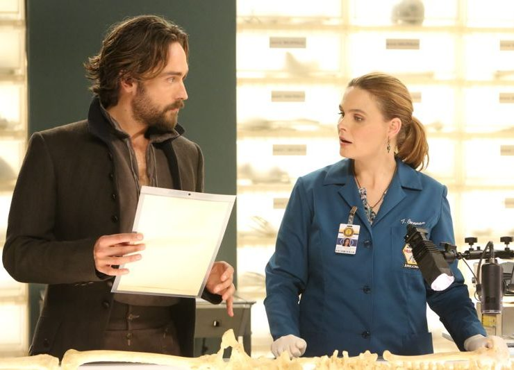 "BONES: L-R: Guest star Tim Mison and Emily Deschanel in the special ""The Resurrection in the Remains"