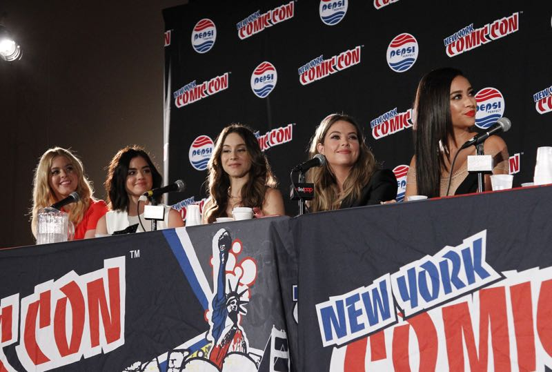 "PRETTY LITTLE LIARS - Lucy Hale, Shay Mitchell, Ashley Benson, Troian Bellisario and Sasha Pieterse as well as Executive producers Marlene King, Oliver Goldstick and Joseph Dougherty assemble at Comic-Con New York to preview the new mystery facing the girls when ""Pretty Little Liars"" returns in January 2016. (ABC Family/Lou Rocco) SASHA PIETERSE, LUCY HALE, TROIAN BELLISARIO, ASHLEY BENSON, SHAY MITCHELL"