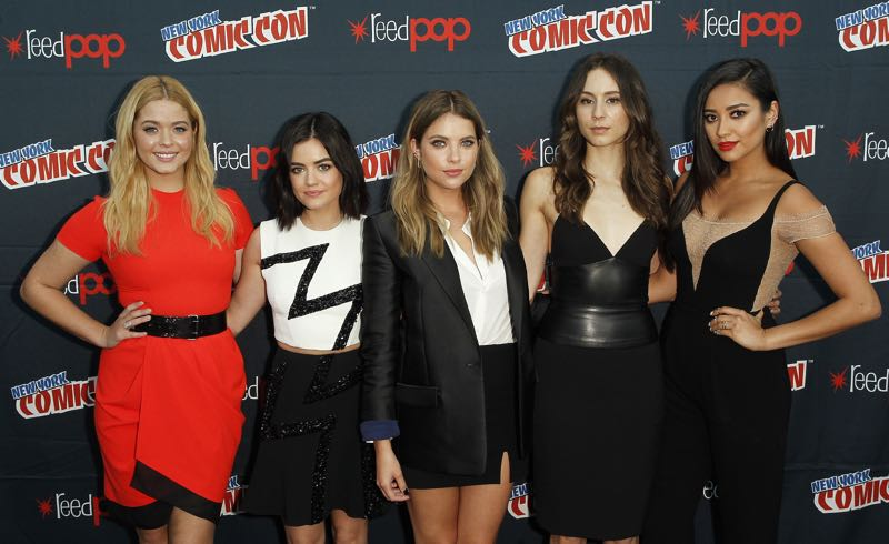"PRETTY LITTLE LIARS - Lucy Hale, Shay Mitchell, Ashley Benson, Troian Bellisario and Sasha Pieterse as well as Executive producers Marlene King, Oliver Goldstick and Joseph Dougherty assemble at Comic-Con New York to preview the new mystery facing the girls when ""Pretty Little Liars"" returns in January 2016. (ABC Family/Lou Rocco) SASHA PIETERSE, LUCY HALE, ASHLEY BENSON, TROIAN BELLISARIO, SHAY MITCHELL"