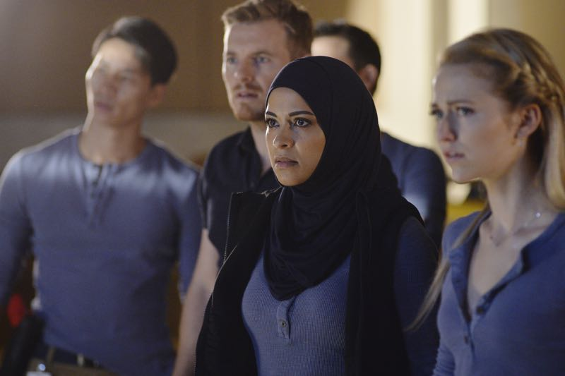 "QUANTICO - ""Go"" - It's midterm exam time at Quantico where the NATS are given an explosive assignment which results in some people going home for good. In the future, Alex continues to try and clear her name, finding Nimah and Raina who provide more questions than answers leaving Alex and the world to wonder, ""who can you really trust?"" on ""Quantico"" SUNDAY, NOVEMBER 8 (10:01-11:00 ET) on the ABC Television Network. (ABC/Jonathan Wenk) RICK COSNETT, YASMINE AL MASSRI, JOHANNA BRADDY"