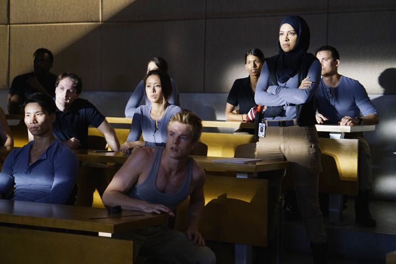 "QUANTICO - ""Go"" - It's midterm exam time at Quantico where the NATS are given an explosive assignment which results in some people going home for good. In the future, Alex continues to try and clear her name, finding Nimah and Raina who provide more questions than answers leaving Alex and the world to wonder, ""who can you really trust?"" on ""Quantico"" SUNDAY, NOVEMBER 8 (10:01-11:00 ET) on the ABC Television Network. (ABC/Jonathan Wenk) GRAHAM ROGERS, YASMINE AL MASSRI"