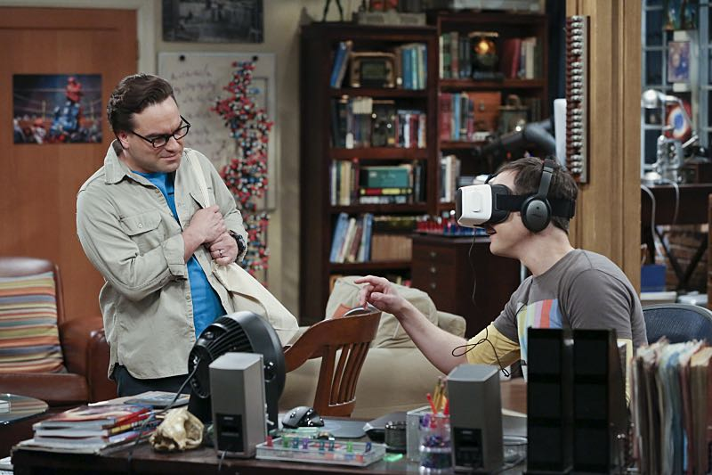 """""""The Big Bear Precipitation"""" -- Sheldon (Jim Parsons, right) spills a secret of Leonard's (Johnny Galecki, left) when the two take a weekend cabin trip with Penny and Amy, on THE BIG BANG THEORY, Thursday, April 7 (8:00-8:31 PM, ET/PT) on the CBS Television Network. Photo: Michael Yarish/Warner Bros. Entertainment Inc. © 2016 WBEI. All rights reserved."""