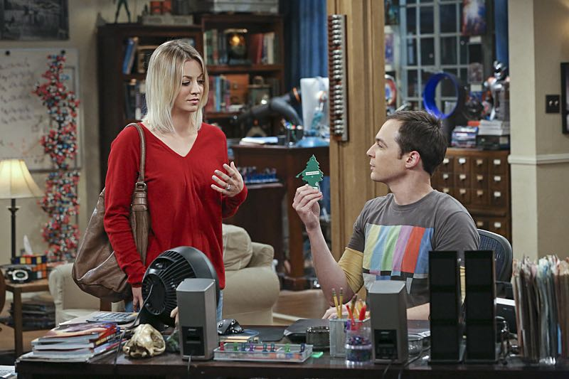 """""""The Big Bear Precipitation"""" -- Sheldon (Jim Parsons, right) spills a secret of Leonard's when the two take a weekend cabin trip with Penny and Amy, on THE BIG BANG THEORY, Thursday, April 7 (8:00-8:31 PM, ET/PT) on the CBS Television Network. Also Pictured: Kaley Cuoco (left) Photo: Michael Yarish/Warner Bros. Entertainment Inc. © 2016 WBEI. All rights reserved."""