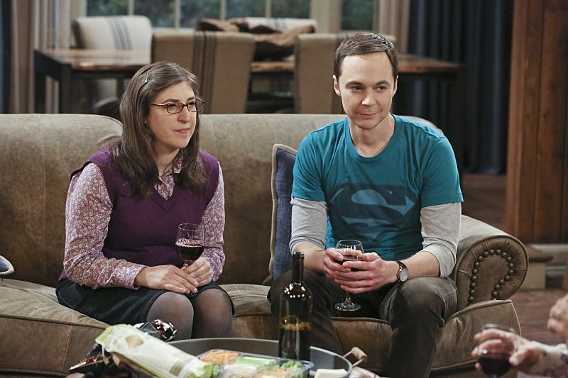 """""""The Big Bear Precipitation"""" -- Sheldon (Jim Parsons, right) spills a secret of Leonard's when the two take a weekend cabin trip with Penny and Amy, on THE BIG BANG THEORY, Thursday, April 7 (8:00-8:31 PM, ET/PT) on the CBS Television Network. Also Pictured: Mayim Bialik (left) Photo: Michael Yarish/Warner Bros. Entertainment Inc. © 2016 WBEI. All rights reserved."""
