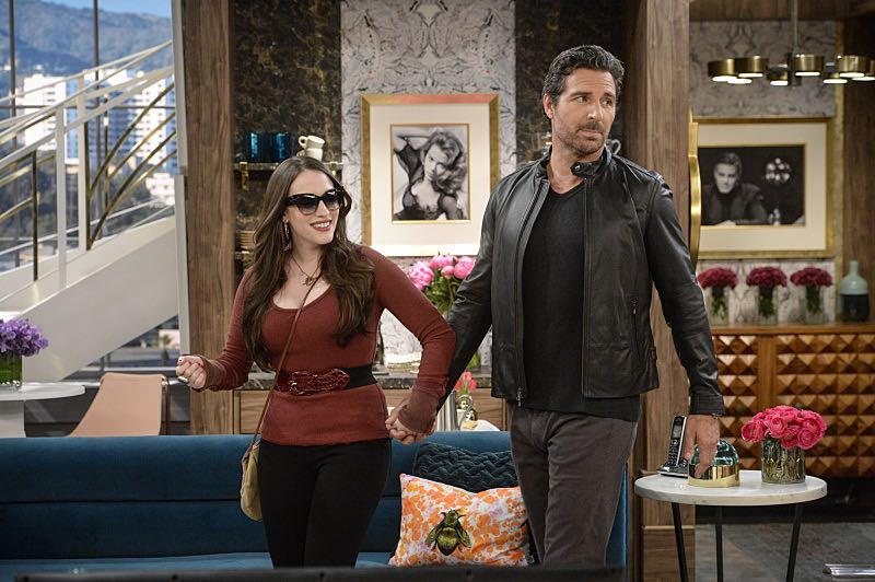 """And You Bet Your Ass"" -- Pictured: Max Black (Kat Dennings) and Randy (Ed Quinn). Caroline continues meeting with studio writers in an effort to make her life story into a movie, but she is torn when they reveal they would not portray Max in the project. Also, Max is being spoiled by her new Hollywood beau, Randy (Ed Quinn), who sets Caroline up on a date with his friend, Bob, on 2 BROKE GIRLS, Thursday, March 3 (9:30-10:00 PM, ET/PT) on the CBS Television Network. George Hamilton guest stars as Bob, a former studio mogul. Photo: Darren Michaels/Warner Bros. Entertainment Inc. © 2016 WBEI. All rights reserved."