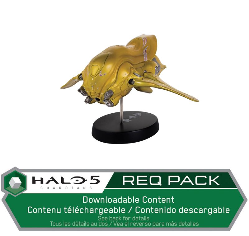 "Halo Covenant Banshee Ship Replica Gold Edition $50.00 5"" gold ship replica. Halo 5: Guardians REQ Pack Download card included with every purchase. Limited edition of 300 1 per person per day"