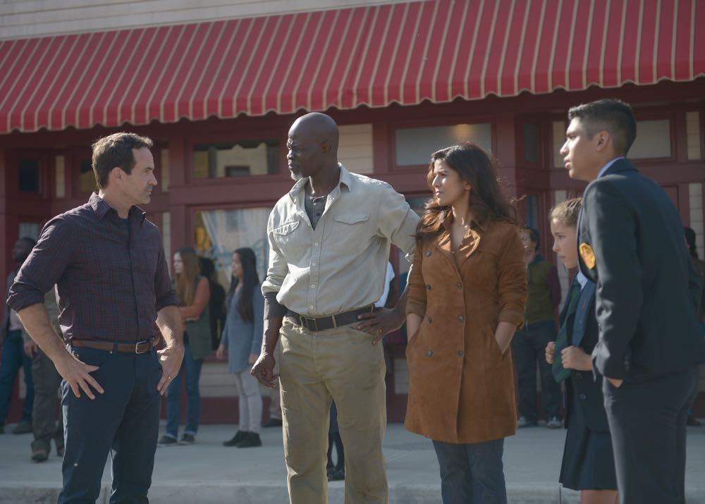 """WAYWARD PINES: L-R: Jason Patric, Djimon Hounsou, Nimrat Kaur, guest star Emma Tremblay and guest star Michael Garza in the """"Once Upon A Time in Wayward Pines"""" episode of WAYWARD PINES airing Wednesday, June 8 (9:00-10:00 PM ET/PT) on FOX. ©2016 Fox Broadcasting Co. Cr: Sergei Bachlakov/FOX"""