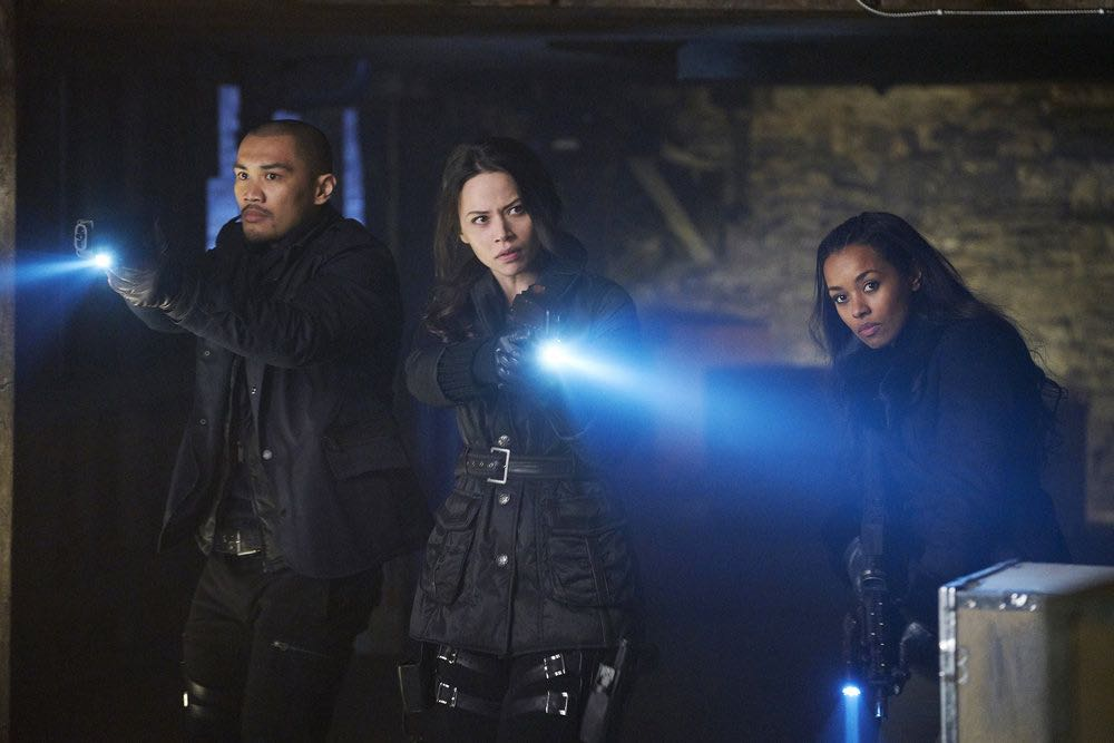 """DARK MATTER -- """"We Voted Not to Space You"""" Episode 205 -- Pictured: (l-r) Alex Mallari, Jr. as Four, Melissa O'Neil as Two, Melanie Liburd as Nyx -- (Photo by: Steve Wilkie/Prodigy Pictures/Syfy)"""