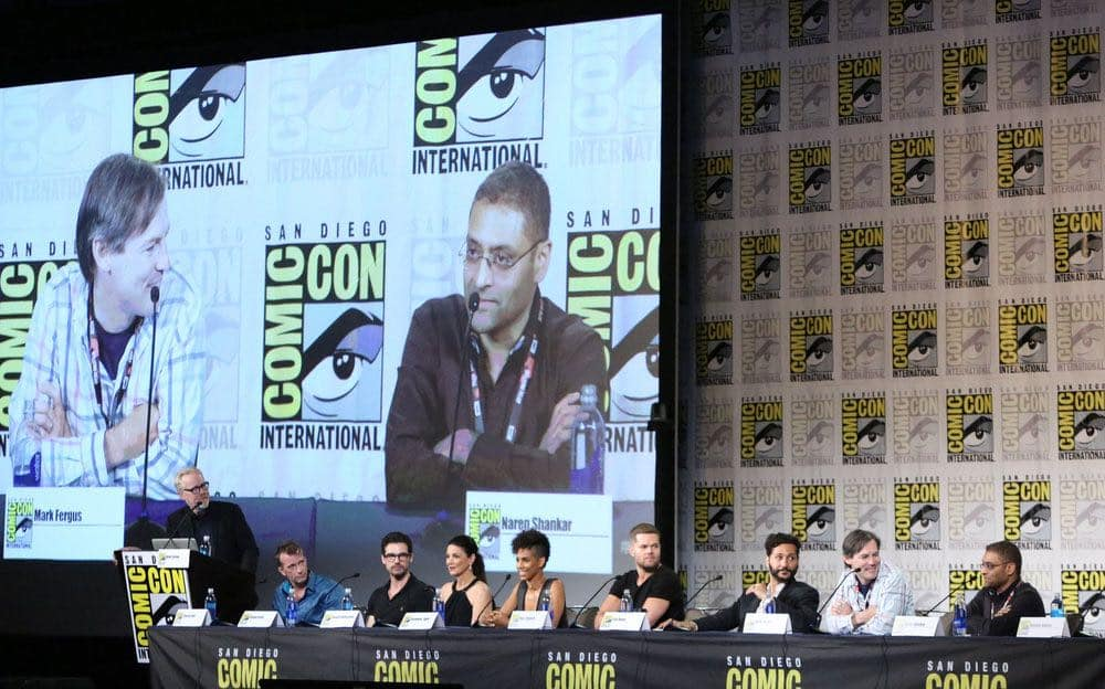 "COMIC-CON INTERNATIONAL: SAN DIEGO -- ""The Expanse Panel"" -- Pictured: (l-r) Adam Savage, Thomas Jane, Steven Strait, Shohreh Aghdashloo, Dominique Tipper, Wes Chatham, Cas Anvar, Executive Producers Mark Fergus, Naren Shankar -- (Photo by: Evans Vestal Ward/Syfy)"