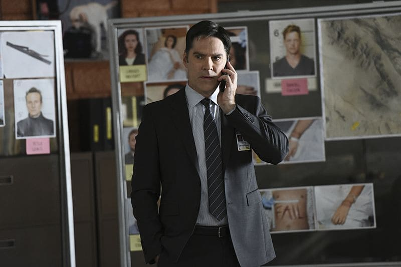 """The Crimson King"" -- Agent Luke Alvez (Adam Rodriguez) joins the BAU team, which is tasked with capturing a killer who escaped prison with 13 other convicts at the end of last season, on the 12th season premiere of CRIMINAL MINDS, Wednesday, Sept. 28 (9:00-10:00 PM, ET/PT), on the CBS Television Network. Pictured: Thomas Gibson as Aaron Hotchner Photo: Eddy Chen/CBS ©2016 CBS Broadcasting, Inc. All Rights Reserved"