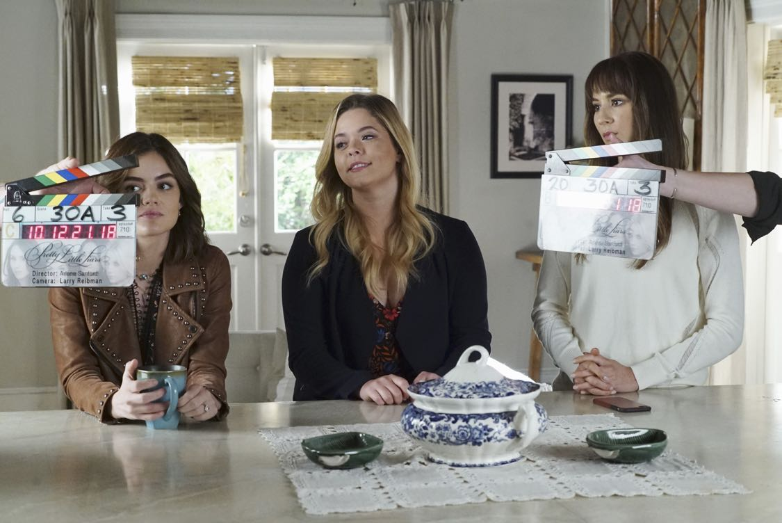 "PRETTY LITTLE LIARS - ""The Darkest Knight"" - The PLLs confront old foes head-on and mayhem ensues in ""The Darkest Knight,"" the summer finale of the hit original series ""Pretty Little Liars,"" airing TUESDAY, AUGUST 30 (8:00-9:00 p.m. EDT). Fans can catch up on all of the drama with an all-day marathon of season seven starting at 11:00 a.m. EDT and running up to the one-hour summer finale at 8:00 p.m. EDT. (Freeform/Ron Tom) LUCY HALE, SASHA PIETERSE, TROIAN BELLISARIO"