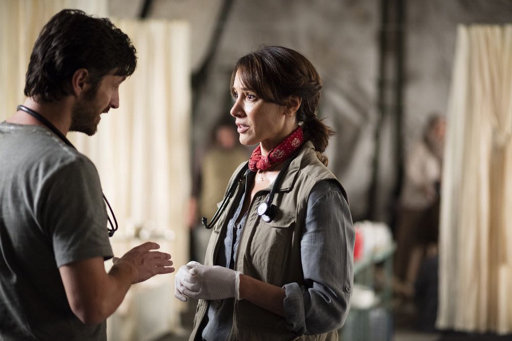 "THE NIGHT SHIFT-- ""Emergent"" Episode 312 -- Pictured: (l-r) Eoin Macken as T.C. Callahan, Jennifer Beals as Syd Jennings -- (Photo by: Cathy Kanavy/NBC)"
