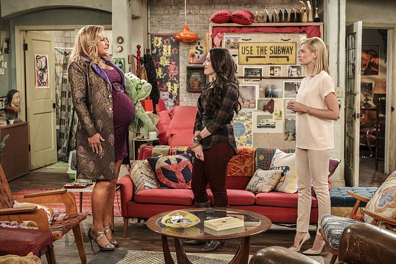 """""""And The Two Openings: Part One"""" -- Pictured: Sophie (Jennifer Coolidge), Max Black (Kat Dennings) and Caroline Channing (Beth Behrs). As Max and Caroline, now part owners of the diner, put the finishing touches on their newly converted Dessert Bar, Max deals with the aftermath of her recent breakup with Randy, and Sophie and Oleg prepare for the birth of their baby, on the sixth season premiere of 2 BROKE GIRLS, Monday, Oct. 10 (9:00-9:30 PM, ET/PT) on the CBS Television Network. Photo: Sonja Flemming/CBS ©2016 CBS Broadcasting, Inc. All Rights Reserved"""