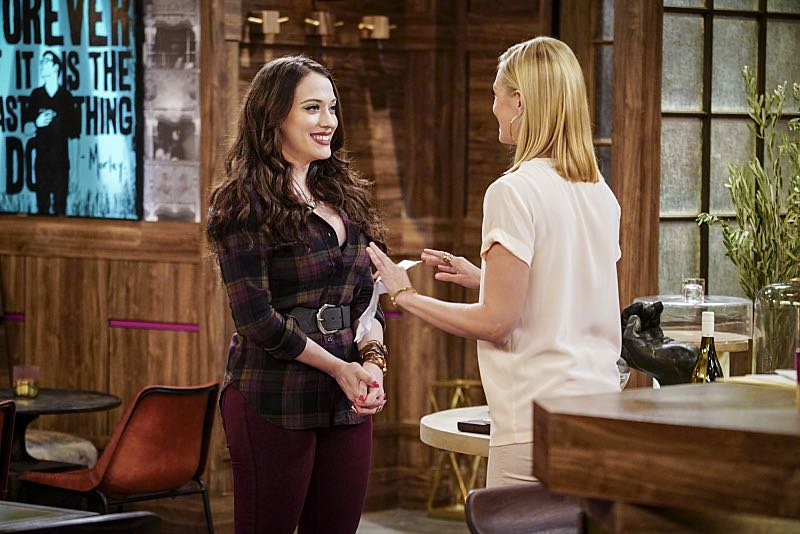 """""""And The Two Openings: Part One"""" -- Pictured: Max Black (Kat Dennings) and Caroline Channing (Beth Behrs). As Max and Caroline, now part owners of the diner, put the finishing touches on their newly converted Dessert Bar, Max deals with the aftermath of her recent breakup with Randy, and Sophie and Oleg prepare for the birth of their baby, on the sixth season premiere of 2 BROKE GIRLS, Monday, Oct. 10 (9:00-9:30 PM, ET/PT) on the CBS Television Network. Photo: Sonja Flemming/CBS ©2016 CBS Broadcasting, Inc. All Rights Reserved"""