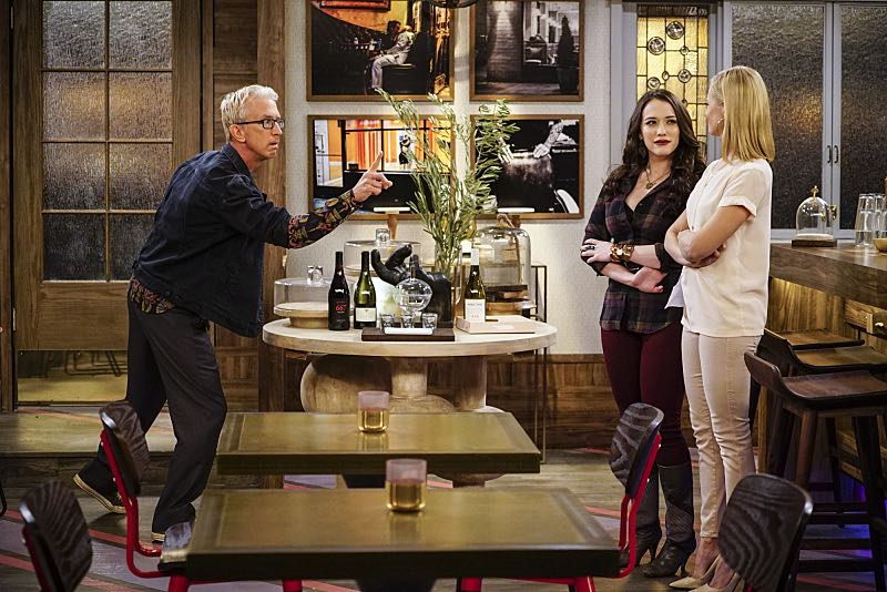 """""""And The Two Openings: Part One"""" -- Pictured: J. Petto (Andy Dick), Max Black (Kat Dennings) and Caroline Channing (Beth Behrs).As Max and Caroline, now part owners of the diner, put the finishing touches on their newly converted Dessert Bar, Max deals with the aftermath of her recent breakup with Randy, and Sophie and Oleg prepare for the birth of their baby, on the sixth season premiere of 2 BROKE GIRLS, Monday, Oct. 10 (9:00-9:30 PM, ET/PT) on the CBS Television Network. Photo: Sonja Flemming/CBS ©2016 CBS Broadcasting, Inc. All Rights Reserved"""