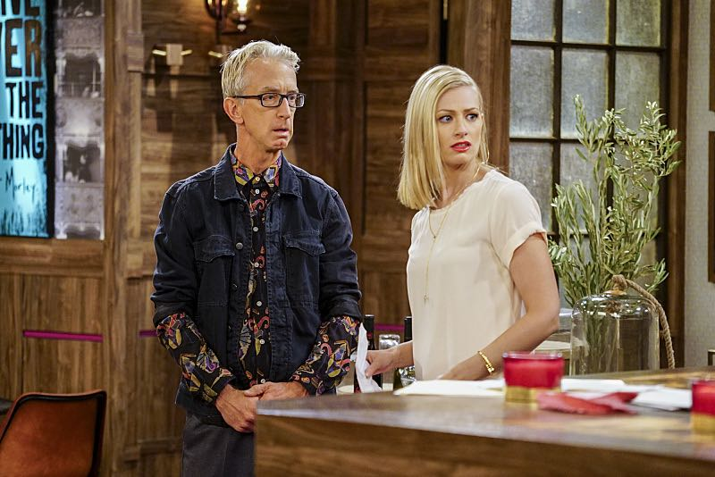 """""""And The Two Openings: Part One"""" -- Pictured: J. Petto (Andy Dick) and Caroline Channing (Beth Behrs). As Max and Caroline, now part owners of the diner, put the finishing touches on their newly converted Dessert Bar, Max deals with the aftermath of her recent breakup with Randy, and Sophie and Oleg prepare for the birth of their baby, on the sixth season premiere of 2 BROKE GIRLS, Monday, Oct. 10 (9:00-9:30 PM, ET/PT) on the CBS Television Network. Photo: Sonja Flemming/CBS ©2016 CBS Broadcasting, Inc. All Rights Reserved"""