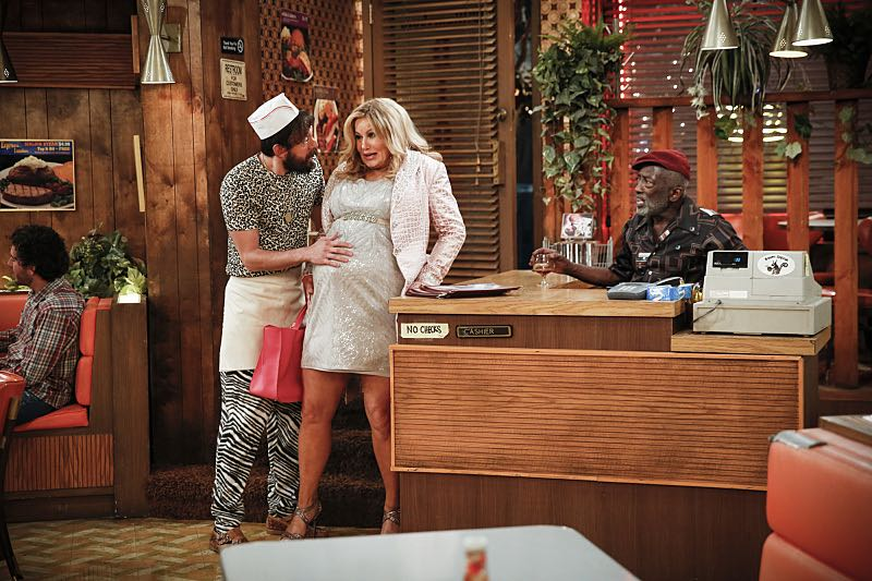 """""""And The Two Openings: Part One"""" -- Pictured: Oleg (Jonathan Kite), Sophie (Jennifer Coolidge) and Earl (Garrett Morris). As Max and Caroline, now part owners of the diner, put the finishing touches on their newly converted Dessert Bar, Max deals with the aftermath of her recent breakup with Randy, and Sophie and Oleg prepare for the birth of their baby, on the sixth season premiere of 2 BROKE GIRLS, Monday, Oct. 10 (9:00-9:30 PM, ET/PT) on the CBS Television Network. Photo: Cliff Lipson/CBS ©2016 CBS Broadcasting, Inc. All Rights Reserved. All rights reserved."""