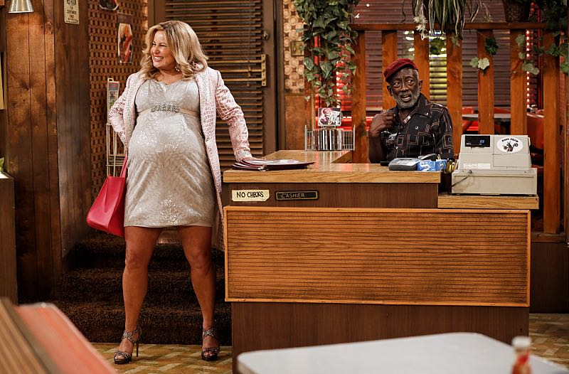 """""""And The Two Openings: Part One"""" -- Pictured: Sophie (Jennifer Coolidge) and Earl (Garrett Morris). As Max and Caroline, now part owners of the diner, put the finishing touches on their newly converted Dessert Bar, Max deals with the aftermath of her recent breakup with Randy, and Sophie and Oleg prepare for the birth of their baby, on the sixth season premiere of 2 BROKE GIRLS, Monday, Oct. 10 (9:00-9:30 PM, ET/PT) on the CBS Television Network. Photo: Cliff Lipson/CBS ©2016 CBS Broadcasting, Inc. All Rights Reserved. All rights reserved."""