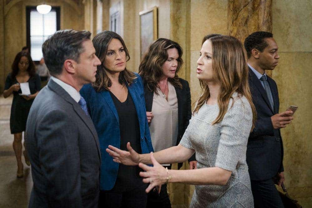 """LAW & ORDER: SPECIAL VICTIMS UNIT -- """"Imposter"""" Episode 1803 -- Pictured: (l-r) Raul Esparza as A.D.A. Rafael Barba, Mariska Hargitay as Lieutenant Olivia Benson, Paula Marshall as Laura Collett -- (Photo by: Michael Parmelee/NBC)"""