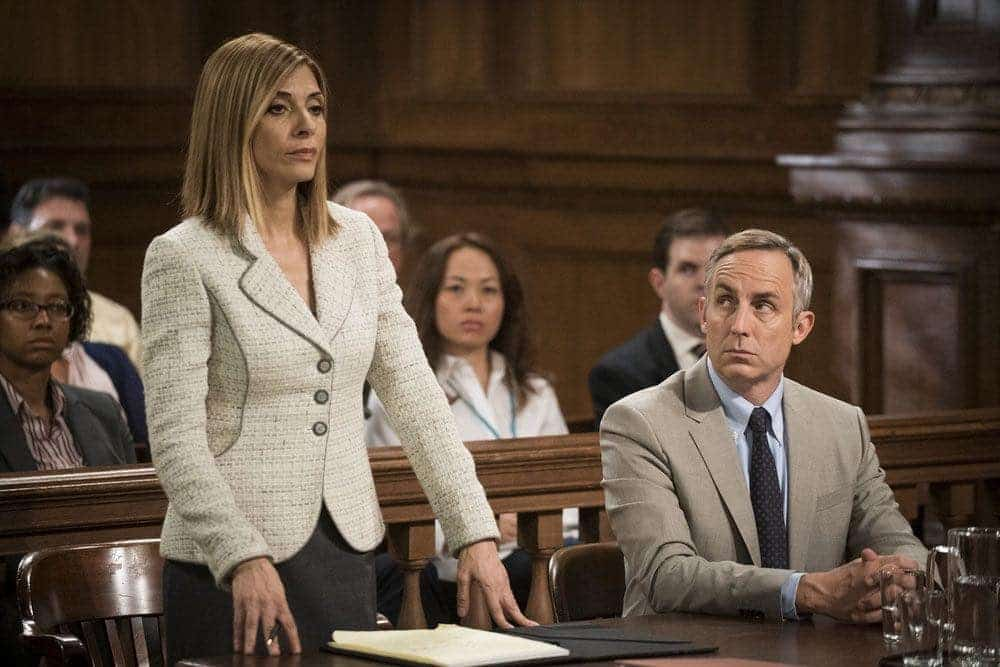 """LAW & ORDER: SPECIAL VICTIMS UNIT -- """"Imposter"""" Episode 1803 -- Pictured: (l-r) Callie Thorne as Counselor Katherine Drexler, Wallace Langham as Tom Metcalf -- (Photo by: Michael Parmelee/NBC)"""