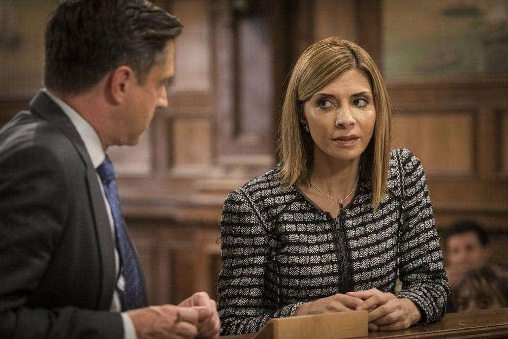 """LAW & ORDER: SPECIAL VICTIMS UNIT -- """"Imposter"""" Episode 1803 -- Pictured: (l-r) Raul Esparza as A.D.A. Rafael Barba, Callie Thorne as Counselor Katherine Drexler -- (Photo by: Michael Parmelee/NBC)"""