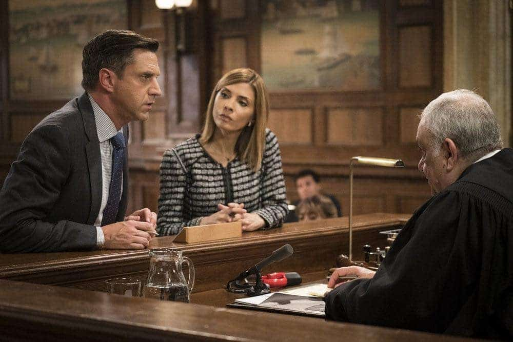 """LAW & ORDER: SPECIAL VICTIMS UNIT -- """"Imposter"""" Episode 1803 -- Pictured: (l-r) Raul Esparza as A.D.A. Rafael Barba, Callie Thorne as Counselor Katherine Drexler, Vincent Curatola as Judge Al Bertuccio -- (Photo by: Michael Parmelee/NBC)"""