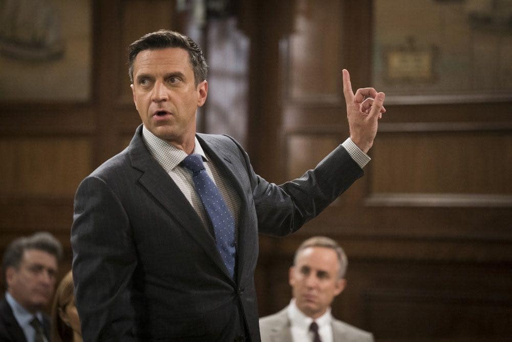 """LAW & ORDER: SPECIAL VICTIMS UNIT -- """"Imposter"""" Episode 1803 -- Pictured: Raul Esparza as A.D.A. Rafael Barba -- (Photo by: Michael Parmelee/NBC)"""