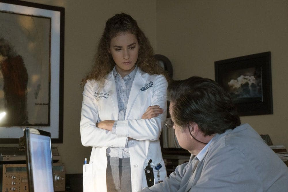 "CHICAGO MED -- ""Brother's Keeper"" Episode 204 -- Pictured: (l-r) Rachel DiPillo as Sarah Reese, Oliver Platt as Daniel Charles -- (Photo by: Elizabeth Sisson/NBC)"