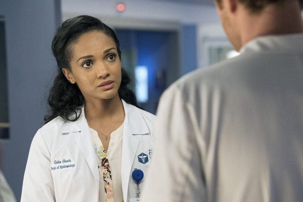 "CHICAGO MED -- ""Brother's Keeper"" Episode 204 -- Pictured: Mekia Cox as Robin Charles -- (Photo by: Elizabeth Sisson/NBC)"