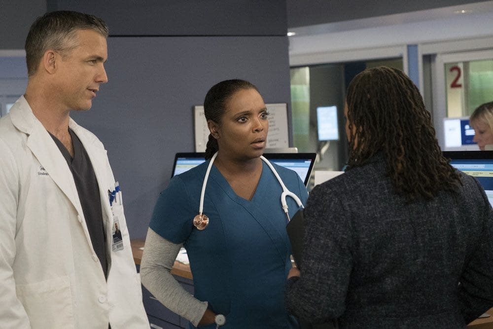 "CHICAGO MED -- ""Brother's Keeper"" Episode 204 -- Pictured: (l-r) Jeff Hephner as Jeff Clarke, Marlyne Barrett as Maggie Lockwood -- (Photo by: Elizabeth Sisson/NBC)"