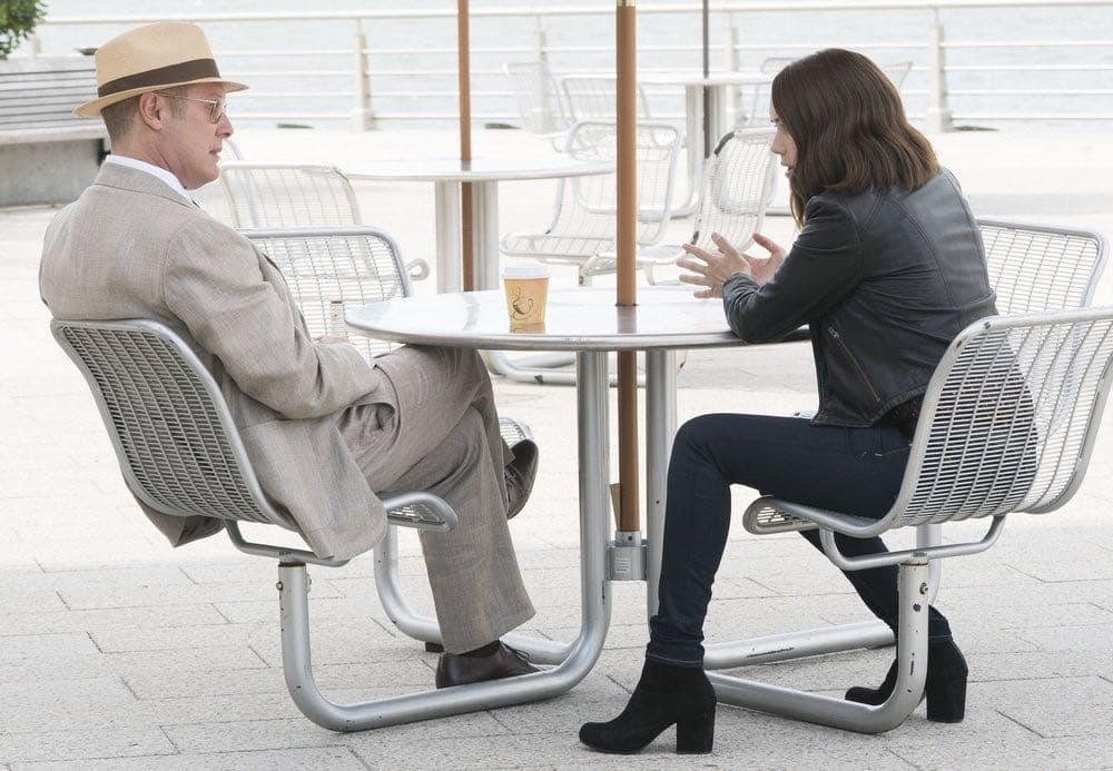 "THE BLACKLIST -- ""Gaia: #81"" Episode 404 -- Pictured: (l-r) James Spader as Raymond ""Red"" Reddington, Megan Boone as Elizabeth Keen -- (Photo by: Virginia Sherwood/NBC)"