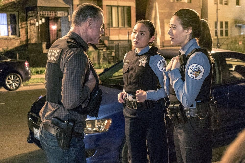 "CHICAGO P.D. -- ""Big Friends Big Enemies"" Episode 403 -- Pictured: (l-r) Jason Beghe as Hank Voight, Li Jun Li as Julie Tay, Marina Squerciati as Kim Burgess -- (Photo by: Matt Dinerstein/NBC)"
