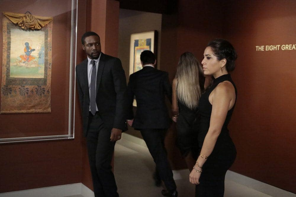 "BLINDSPOT -- ""If Beth"" Episode 204 -- Pictured: (l-r) Rob Brown as Edgar Reade, Audrey Esparza as Tasha Zapata -- (Photo by: Giovanni Ruffino/NBC)"