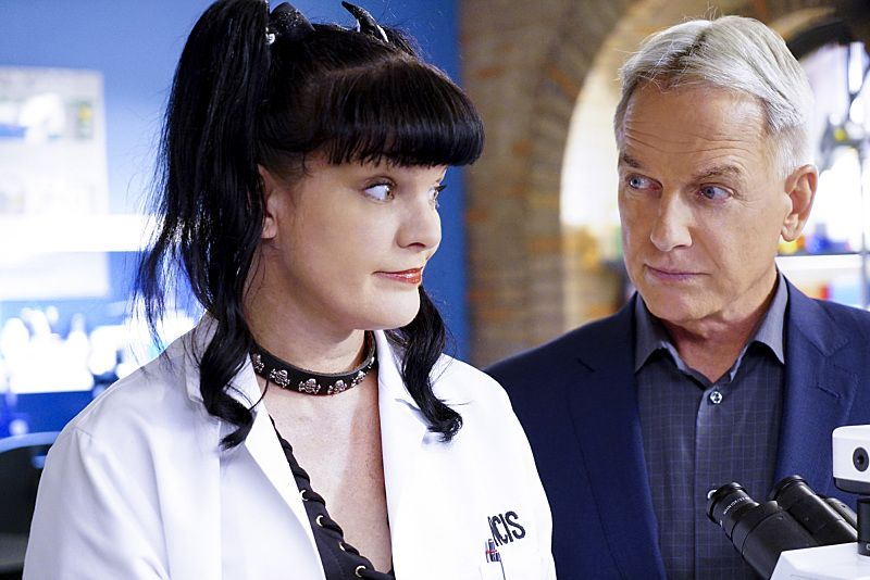 """Privileged Information"" -- When the NCIS team investigates a marine sergeant's tragic fall from a building, her doctor, Grace Confalone (Laura San Giacomo), confides in Gibbs and suggests he treat it as a murder investigation. Also, Torres searches for a place to live, on NCIS, Tuesday, Oct. 4 (8:00-9:00 PM, ET/PT), on the CBS Television Network. Pictured: Pauley Perrette, Mark Harmon Photo: Sonja Flemming/CBS ©2016 CBS Broadcasting, Inc. All Rights Reserved"