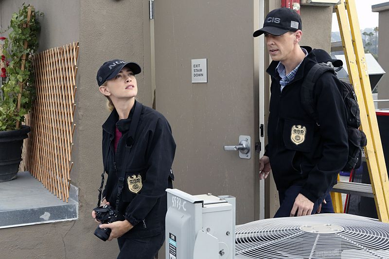 """Privileged Information"" -- When the NCIS team investigates a marine sergeant's tragic fall from a building, her doctor, Grace Confalone (Laura San Giacomo), confides in Gibbs and suggests he treat it as a murder investigation. Also, Torres searches for a place to live, on NCIS, Tuesday, Oct. 4 (8:00-9:00 PM, ET/PT), on the CBS Television Network. Pictured: Emily Wickersham, Sean Murray. Photo: Sonja Flemming/CBS ©2016 CBS Broadcasting, Inc. All Rights Reserved"