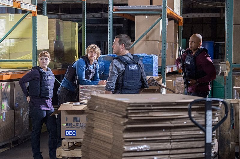 """Black Market"" -- Pictured: Renée Felice Smith (Intelligence Analyst Nell Jones), Eric Christian Olsen (LAPD Liaison Marty Deeks), Chris O'Donnell (Special Agent G. Callen) and LL COOL J (Special Agent Sam Hanna). After a Homeland Security agent is poisoned by a notorious Triad assassin, NCIS uncovers a warehouse of counterfeit purses and a money trail to stolen government funds. Also, Nell joins the team in the field, on NCIS: LOS ANGELES, Sunday, Oct. 16 (8:00-9:00 PM, ET/PT), on the CBS Television Network. Photo: Neil Jacobs/CBS ©2016 CBS Broadcasting, Inc. All Rights Reserved."