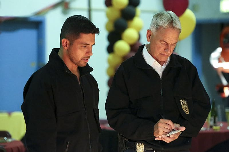 """Being Bad"" -- NCIS uncovers a bomb plot and a long-running theft ring while investigating a death at a Quantico reunion. Also Torres and Quinn adjust to life on Gibbs' team, including new seating arrangements in the squad room, on NCIS, Tuesday, Sept. 27 (8:00-9:00, ET/PT), on the CBS Television Network. Pictured: Wilmer Valderrama, Mark Harmon. Photo: Patrick McElhenney/CBS ©2016 CBS Broadcasting, Inc. All Rights Reserved"