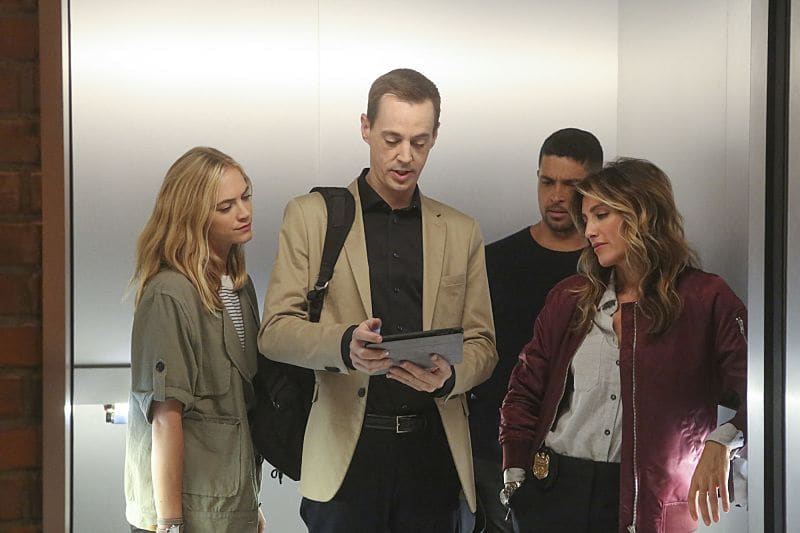 """Being Bad"" -- NCIS uncovers a bomb plot and a long-running theft ring while investigating a death at a Quantico reunion. Also Torres and Quinn adjust to life on Gibbs' team, including new seating arrangements in the squad room, on NCIS, Tuesday, Sept. 27 (8:00-9:00, ET/PT), on the CBS Television Network. Pictured: Emily Wickersham, Sean Murray, Wilmer Valderrama, Jennifer Esposito. Photo: Patrick McElhenney/CBS ©2016 CBS Broadcasting, Inc. All Rights Reserved"