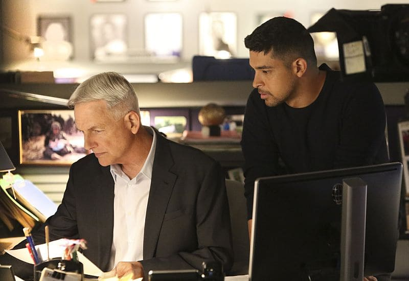 """Being Bad"" -- NCIS uncovers a bomb plot and a long-running theft ring while investigating a death at a Quantico reunion. Also Torres and Quinn adjust to life on Gibbs' team, including new seating arrangements in the squad room, on NCIS, Tuesday, Sept. 27 (8:00-9:00, ET/PT), on the CBS Television Network. Pictured: Mark Harmon, Wilmer Valderrama. Photo: Patrick McElhenney/CBS ©2016 CBS Broadcasting, Inc. All Rights Reserved"