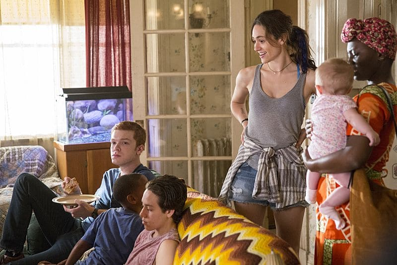 Cameron Monaghan as Ian Gallagher, Ethan Cutkosky as Carl Gallagher, Emmy Rossum as Fiona Gallagher and Abena Ansah as Jolayemi in Shameless (Season 7, episode 1) - Photo: Cliff Lipson/SHOWTIME - Photo ID: shameless_701_1715