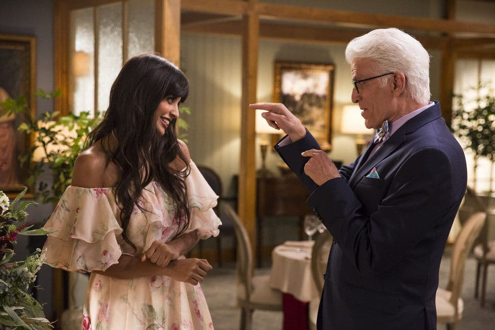 """THE GOOD PLACE -- """"Jason Mendoza"""" Episode 104 -- Pictured: (l-r) Jameela Jamil as Tehani, Ted Danson as Michael -- (Photo by: Justin Lubin/NBC)"""