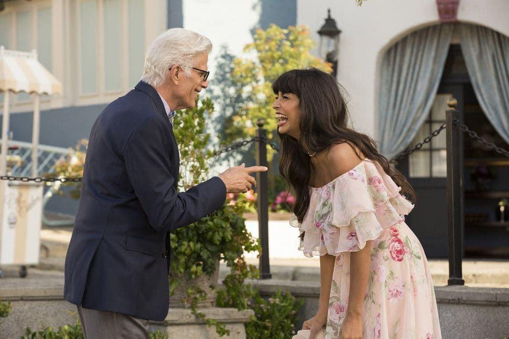 """THE GOOD PLACE -- """"Jason Mendoza"""" Episode 104 -- Pictured: Ted Danson as Michael, Jameela Jamil as Tehani -- (Photo by: Justin Lubin/NBC)"""
