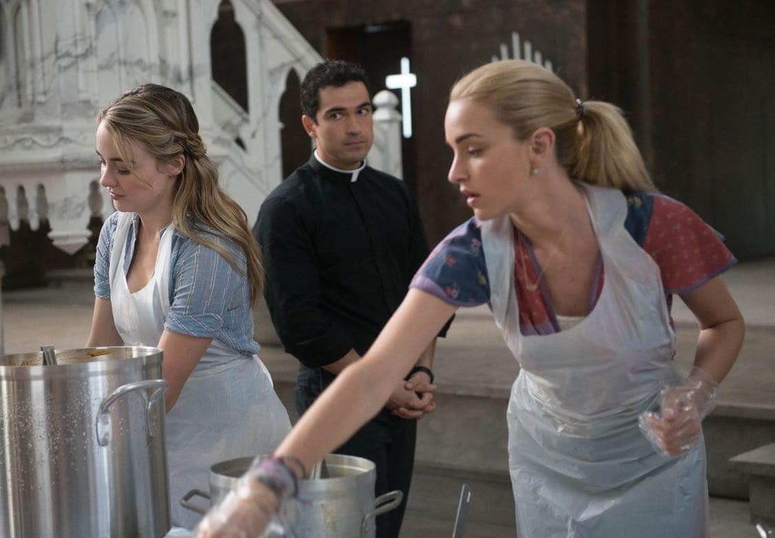 "THE EXORCIST: L-R: Hannah Kasulka, Alfonso Herrera and Brianne Howey in the ""Lupus in Fabula"" episode of THE EXORCIST airing Friday, Sept. 30 (9:00-10:00 PM ET/PT) on FOX. ©2016 Fox Broadcasting Co. Cr: Jean Whiteside/FOX"