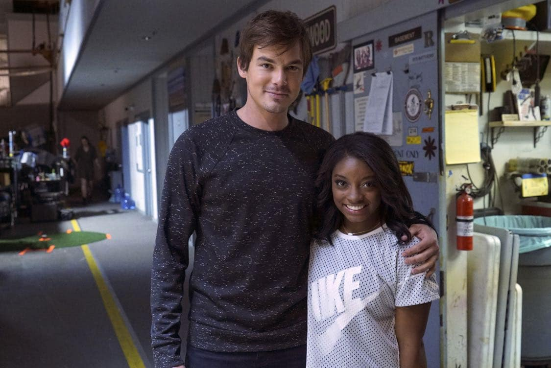 "PRETTY LITTLE LIARS - USA Olympic gold medal gymnast Simone Biles visits the set of 'Pretty Little Liars.'"" (Freeform/Byron Cohen)<br /> TYLER BLACKBURN, SIMONE BILES"