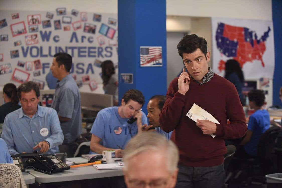 """NEW GIRL:   Max Greenfield (R) in the """"Hubbedy Bubby"""" episode of NEW GIRL airing Tuesday, Sept. 27 (8:30-9:00 PM ET/PT) on FOX.  ©2016 Fox Broadcasting Co.  Cr:  Ray Mickshaw/FOX"""