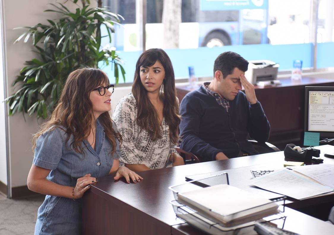 "NEW GIRL:  L-R:  Zooey Deschanel, Hannah Simone and Max Greenfield in the ""House Hunt"" season premiere episode of NEW GIRL airing Tuesday, Sept. 20 (8:30-9:00 PM ET/PT) on FOX.  ©2016 Fox Broadcasting Co.  Cr:  Ray Mickshaw/FOX"