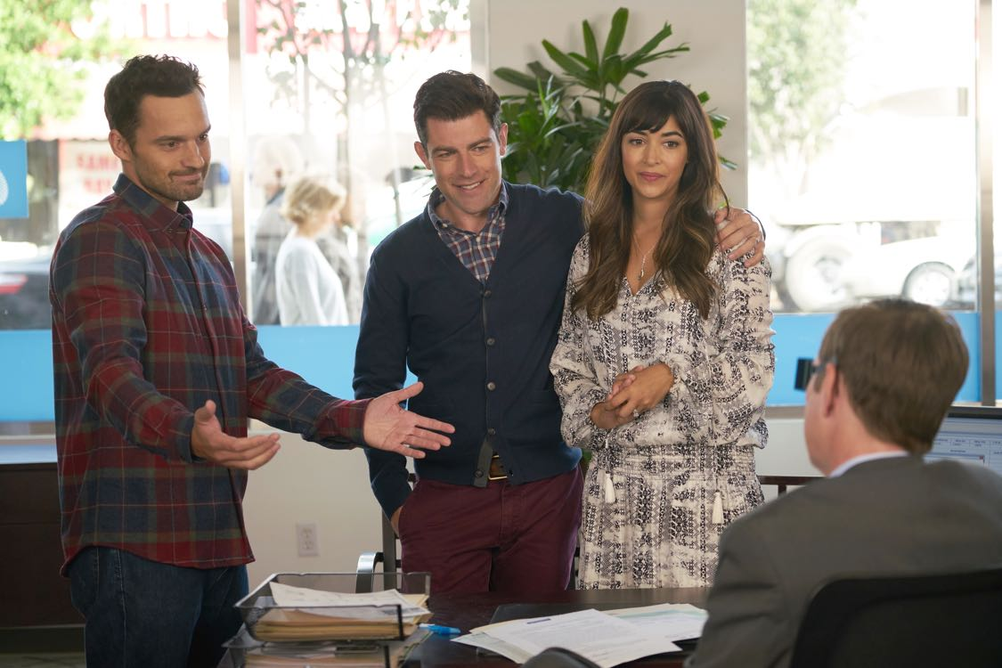 "NEW GIRL: L-R:  Jake Johnson, Max Greenfield and Hannah Simone in the ""House Hunt"" season premiere episode of NEW GIRL airing Tuesday, Sept. 20 (8:30-9:00 PM ET/PT) on FOX. ©2016 Fox Broadcasting Co. Cr: Ray Mickshaw/FOX"