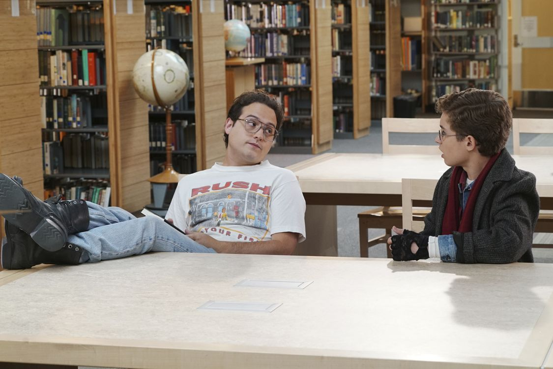 """THE GOLDBERGS - """"Breakfast Club"""" - Adam works on his new persona for the first day of high school that he hopes will up his coolness level. Meanwhile, Beverly gets her teaching certification to become a substitute teacher. But when she is demoted to sub-janitor, she sends the Goldberg kids to a Saturday detention, but it is Principal Ball who must oversee the kids. Later, Murray arrives and takes over where he gives an important lesson, on the season premiere """"The Goldbergs,"""" WEDNESDAY, SEPTEMBER 21 (8:00-8:30 p.m. EDT), on the ABC Television Network. (ABC/Ron Tom) SEAN MARQUETTE, SEAN GIAMBRONE"""