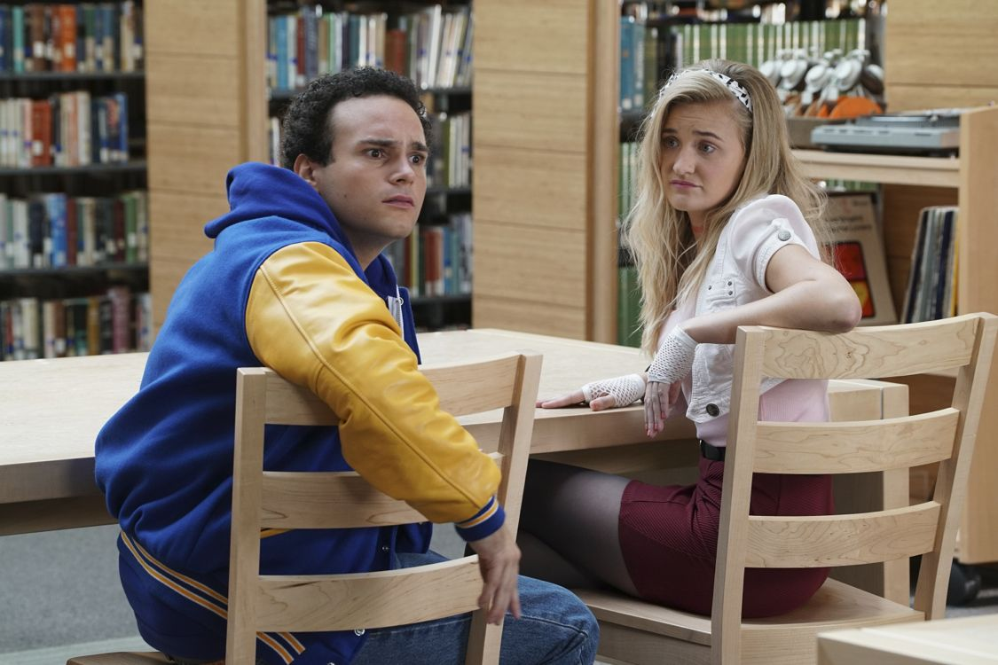 """THE GOLDBERGS - """"Breakfast Club"""" - Adam works on his new persona for the first day of high school that he hopes will up his coolness level. Meanwhile, Beverly gets her teaching certification to become a substitute teacher. But when she is demoted to sub-janitor, she sends the Goldberg kids to a Saturday detention, but it is Principal Ball who must oversee the kids. Later, Murray arrives and takes over where he gives an important lesson, on the season premiere """"The Goldbergs,"""" WEDNESDAY, SEPTEMBER 21 (8:00-8:30 p.m. EDT), on the ABC Television Network. (ABC/Ron Tom) TROY GENTILE, AJ MICHALKA"""